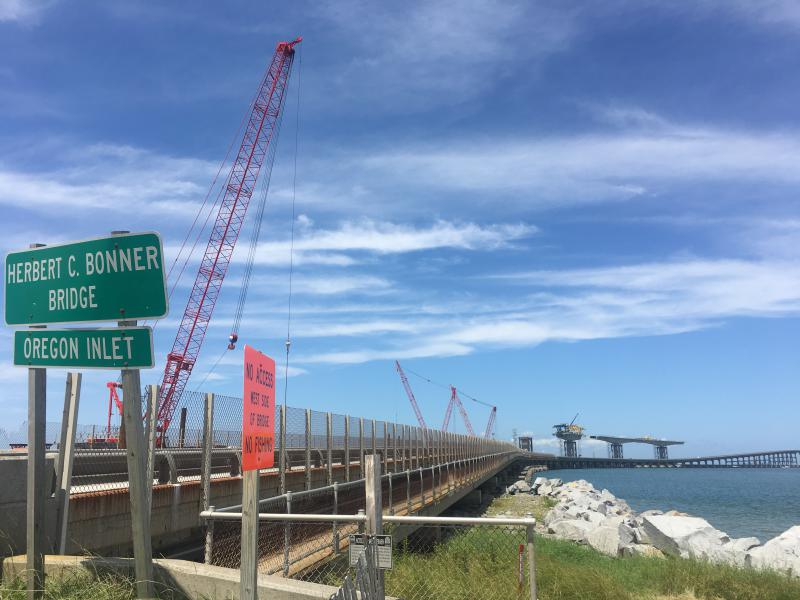 Crews continued to work on the Bonner Bridge project.