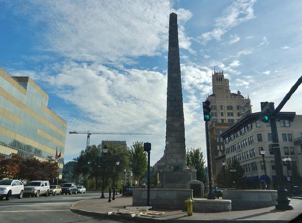 A stone obelisk honoring  Zebulon Vance