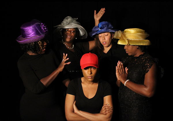 Ensemble - LaToya Smith as Jeanette, India Williams as Mabel, Ivy Annam as Velma, Aya Wallace as Wanda, and Chelsey Moore as Yolanda (center)