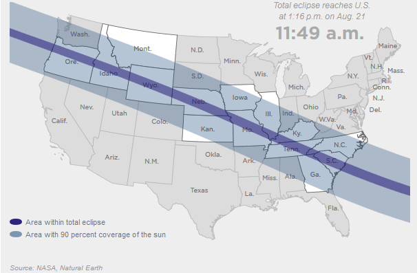 A total solar eclipse makes its way from Oregon to South Carolina today.