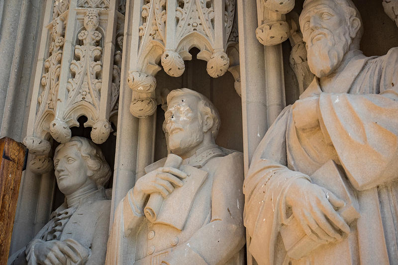 A statue on the portal of Duke Chapel bearing the likeness of Confederate General Robert E. Lee has been vandalized.