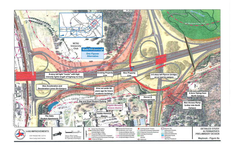 A map illustrates how NC DOT's three expansion options for I-440 would affect Meredith College.