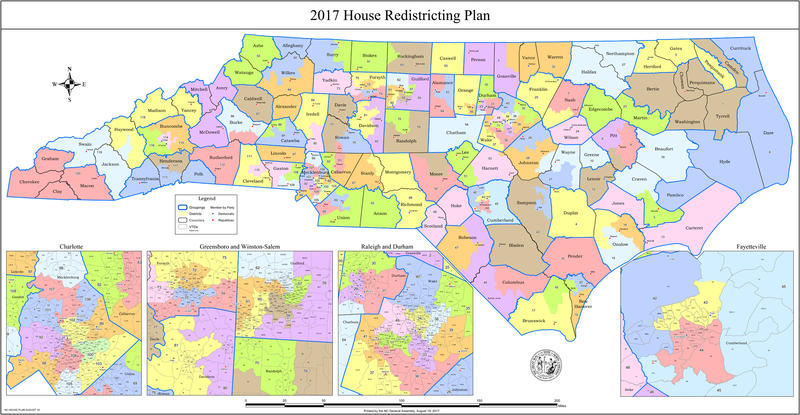 North Carolina House lawmakers released a map on Saturday, August 19, 2017 of new proposed legislative districts.