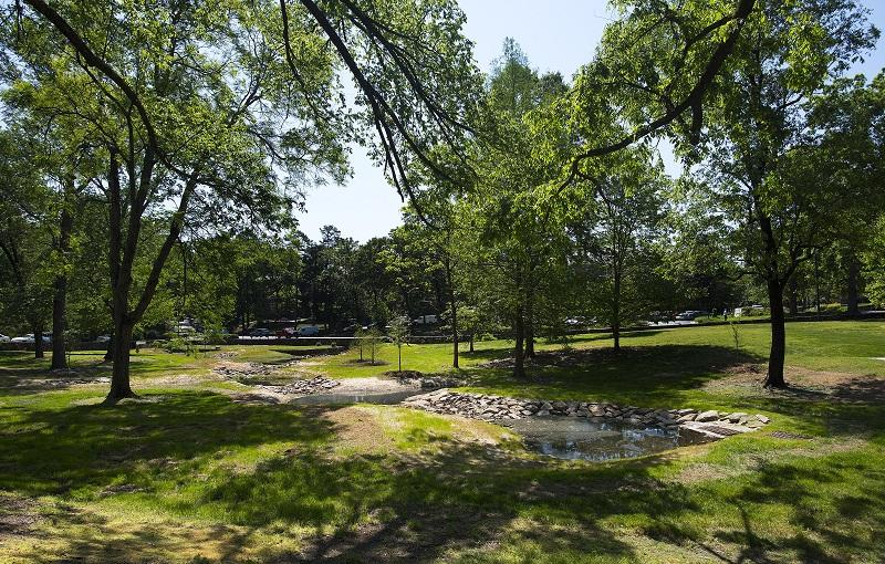 UNC Chapel Hill completed a storm water restoration project in 2016. The Battle Grove Restoration Project reclaimed a muddy field, improved water run-off and is helping the University reach its sustainability goals.