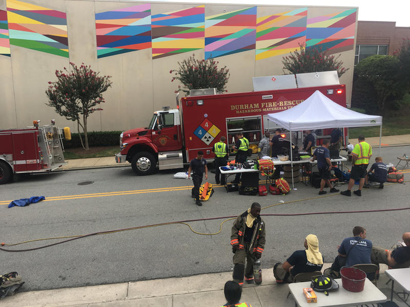 Firefighters respond to a chlorine leak at the downtown Durham YMCA on August 2, 2017.