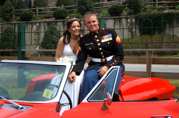 Thomas and his wife Mel on their wedding day in Lake Lure, NC on April 14, 2007.