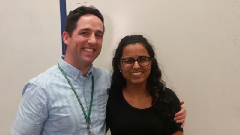 Teacher Brad Lewis and Student Aarushi Vashist