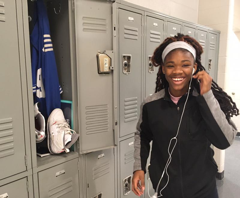 Dnaiyah Durham, a freshman, was surprised to hear she was one of only eight students have a locker. She says she loves hers.