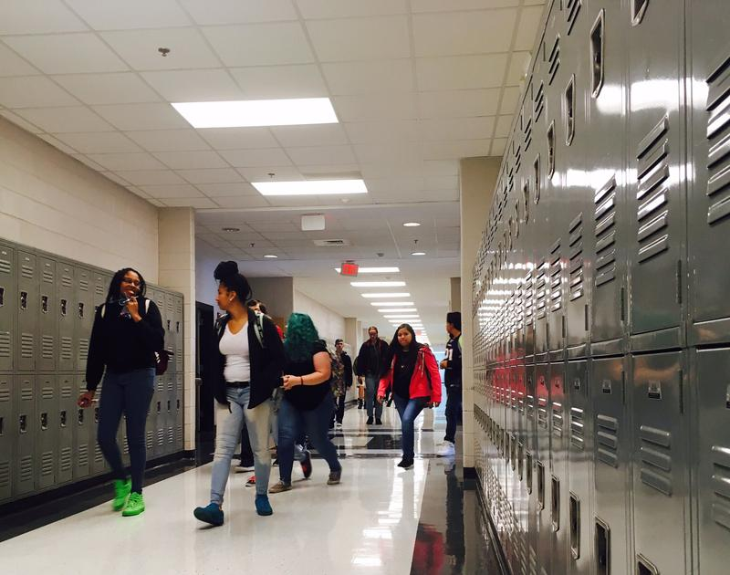 At Granville Central High, a hallway of about 400 lockers goes almost entirely unused. Upstairs are another 400 untouched lockers.