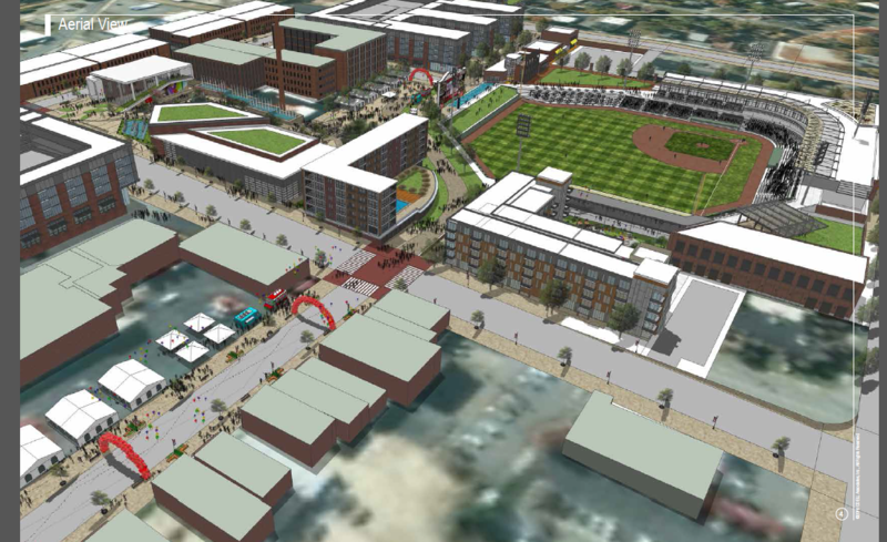 An aerial view of what downtown High Point would look like if the funding for the stadium is approved.