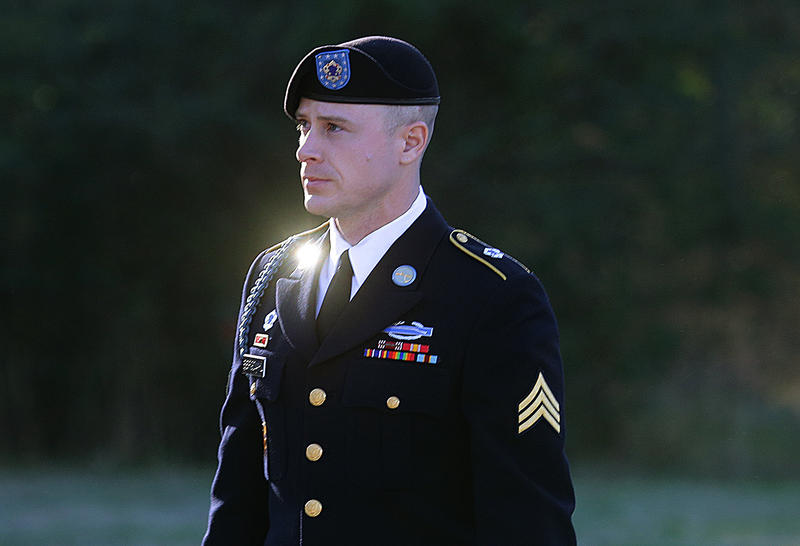 FILE - In this Jan. 12, 2016, file photo, Army Sgt. Bowe Bergdahl arrives for a pretrial hearing at Fort Bragg, N.C. Prosecutors argue that serious injuries to two soldiers who searched for Bergdahl in 2009 show that he endangered his comrades by leaving