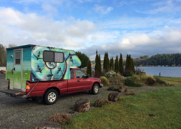 Sarah van Gelder took her road trip in this used pickup truck and camper.