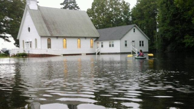 The Dismal Swamp Welcome Center dock shown under water in the fall of 2016. The Dismal Swamp will reopen on 10/31/17 after being closed for more than a year because of damage from Hurricane Matthew.