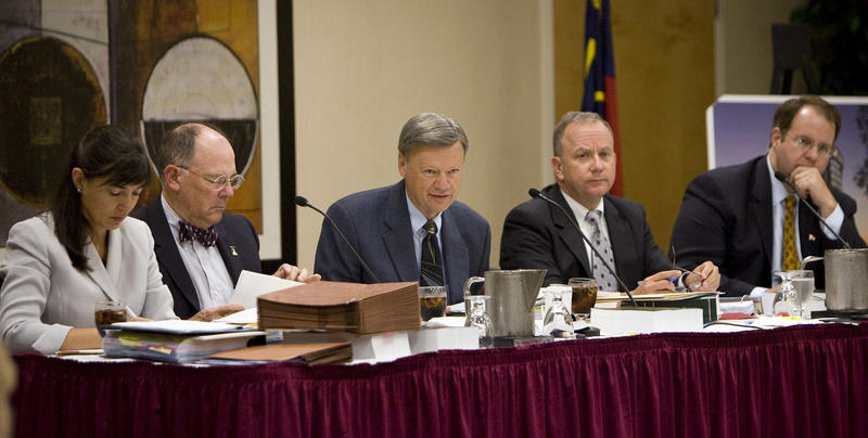 Anita Earls, pictured at far left, sits with members of the NC Board of Elections in 2009 as part of the board's investigation into former Governor Mike Easley's campaign committee and the state Democratic Party