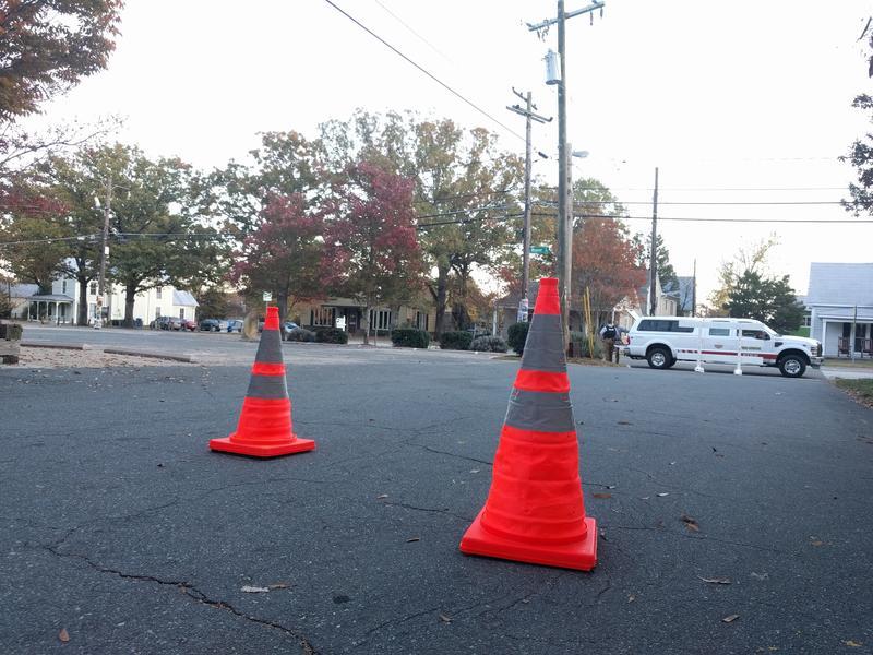 cones block of a street in Carrboro