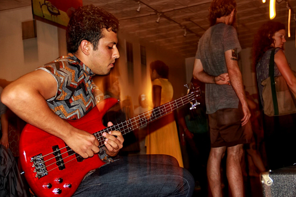 Sijal Nasralla mixes activism into his musical projects. Pictured here at the Durham Artists Movement opening exhibit.