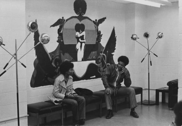 Students in Neo-Black Society lounge at UNCG, 1971