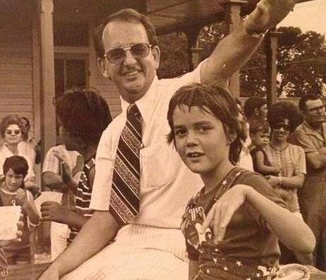 Margaret Bauer and her father in the 1970s.
