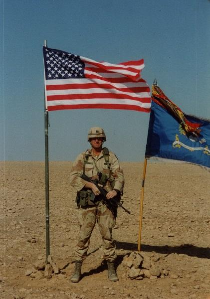 Captain Mike Thomas, 313th Military Intelligence Batallion, on his first deployment during Desert Shield.