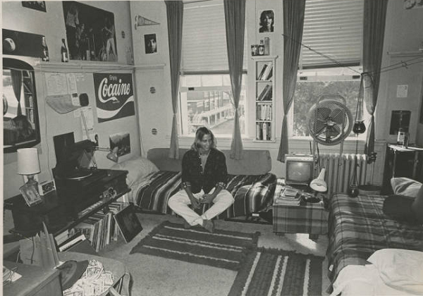 Student in dorm room, 1974