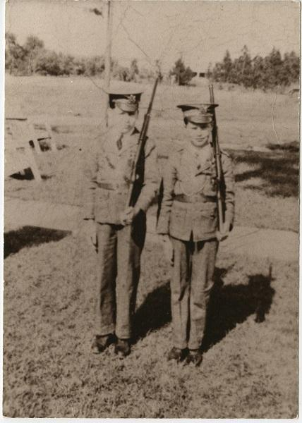 Bill Herring (L) and his brother Dewey playing soldiers as children living on Ft. Bragg in the 1940s.
