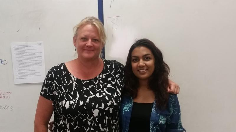 Teacher Lisa Covington and Student Rayna Haque