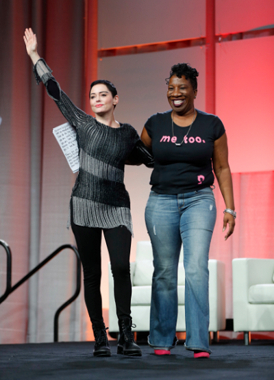 Actress Rose McGowan stands with Tarana Burke, the founder of the #MeToo Campaign.