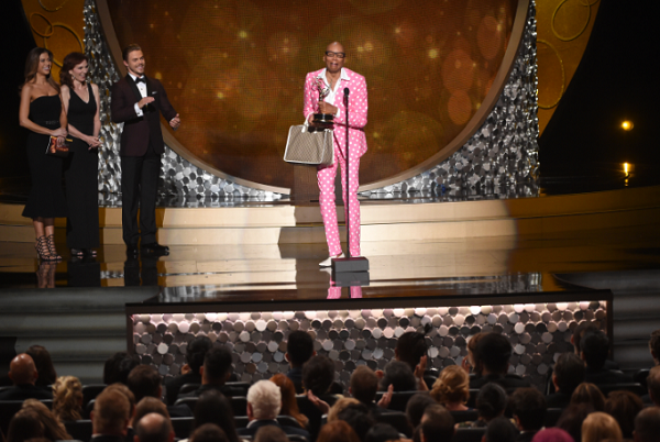 "RuPaul Charles accepts the award for outstanding host for a reality or reality-competition program for ""RuPaul's Drag Race"" during night two of the Television Academy's 2016 Creative Arts Emmy Awards in 2016."