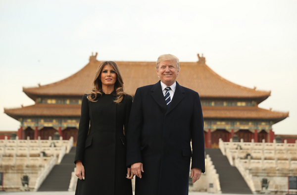 Donald and Melania Trump take a tour of the Forbidden City while visiting Beijing, China as part of their five-country trip through Asia.