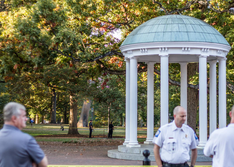 Police investigate an explosive device that was set off on the campus of the University of North Carolina Chapel Hill on November 2, 2017.
