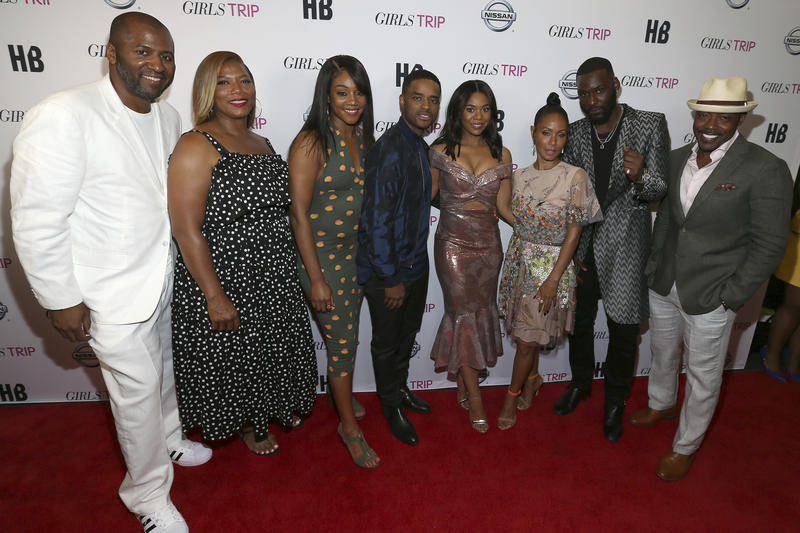 Director Malcom D. Lee left, actors Queen Latifah, Tiffany Haddish, Lorenz Tate, Regina Hall, Jada Pinkett Smith, Kofi Siriboe and producer Will Paker are seen at a New Orleans Special Screening of Girls Trip at the Theatres at Canal Place on 6/30/2017