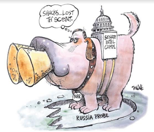 Drawing of large dog with his nose plugged, with the 'Senate Intel Committee' strapped on his back. He stands on a 'footprint' that says 'Russia Probe.'