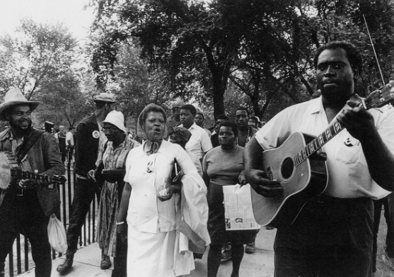 Marchers and singers at the Poor People's Campaign, Washington DC. May-June 1968, Jimmy Collier is on the left, & Frederick Douglass Kirkpatrick on right.