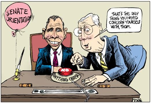 Drawing of Thom Tillis being primed to disagree with anything Barack Obama says.
