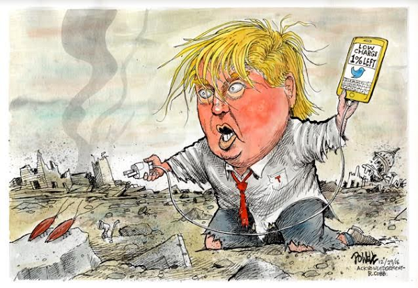 Drawing of Donald Trump scrambling to charge his phone and continue tweeting.