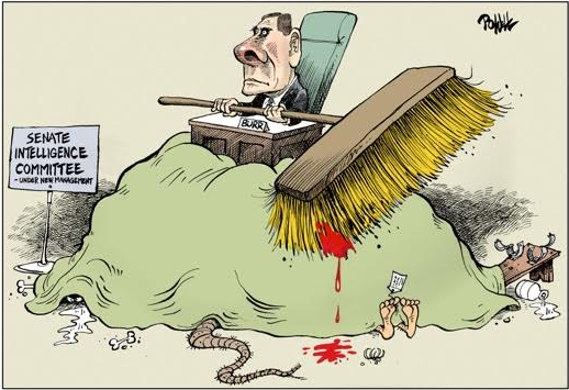 Drawing of Richard Burr holding a giant broom and sitting atop a large, lumpy rug.