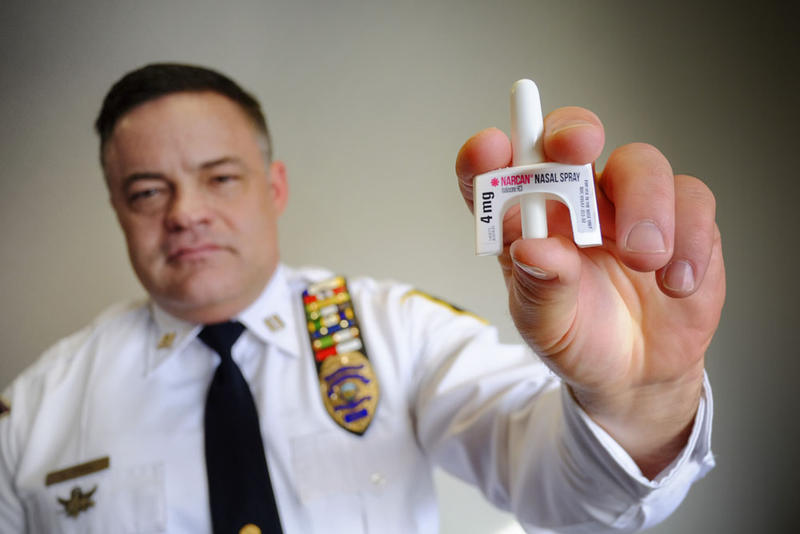 Fayetteville Police Department Captain Lars Paul shows the naloxone nose spray the Fayetteville police use to reverse opioid overdose.