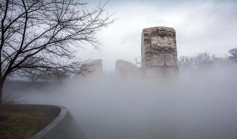 Fog shrouds the Martin Luther King Jr. Memorial in Washington on Friday, Jan. 12, 2018. A federal holiday to commemorate his birthday will be observed Monday.