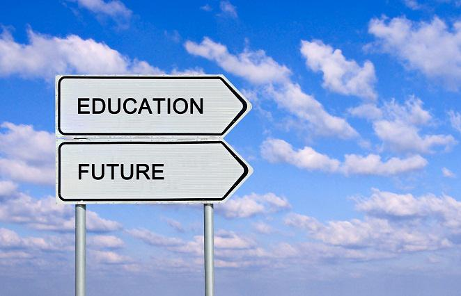 a street sign with the words education and future on them