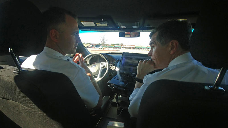 Governor Roy Cooper tour areas of High Point, N.C., affected by the opioid epidemic during a ride-along with Chris Wilson, of the Guilford County Emergency Management Service on January 25, 2018.