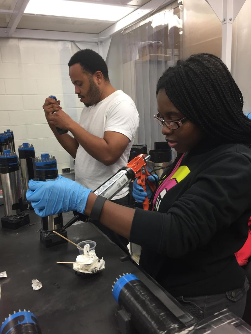 Abasi Brown and Deandria Harper, working at TUNL N.C. Central University physics studentsAbasi Brown and Deandria Harper, working at TUNL