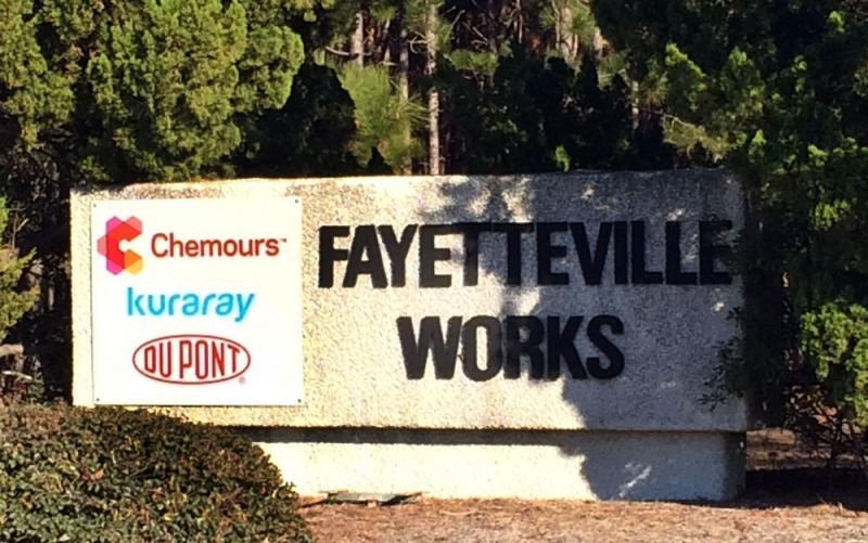 A sign at the entrance of the Fayetteville Works site on N.C. 87 in Bladen County, North Carolina.