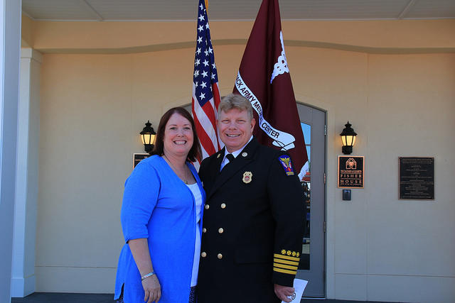 Lorie Southerland, with her husband Eric, at the opening of the new Fort Bragg Fisher House facility.