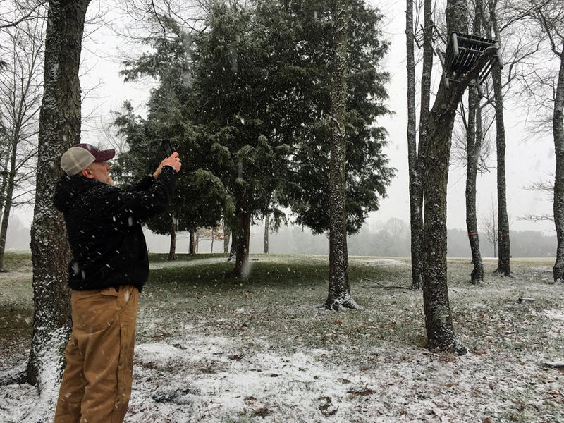 Elton Mullins, who works at the Museum of Art, stops to take some photos around the grounds on January 17, 2018.