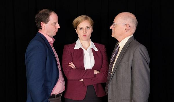 Brian Westbrook, Samantha Corey and Simon Kaplan perform in the upcoming Raleigh Little Theatre Production 'What We're Up Against.'