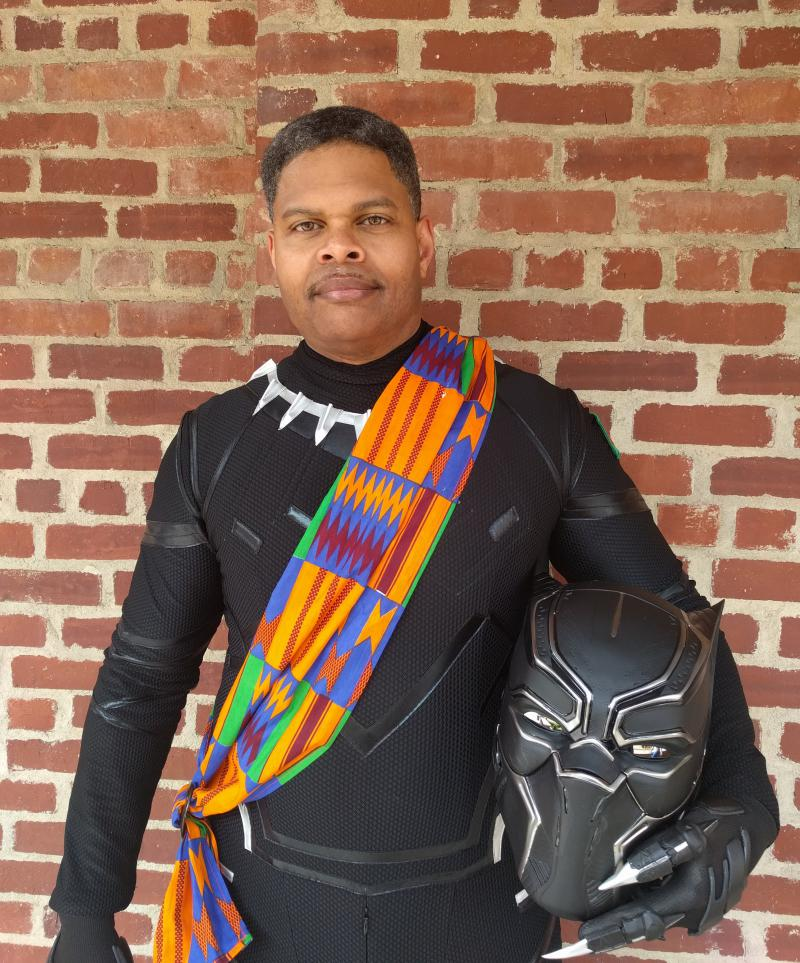 Victor Lawe without his black panther mask on
