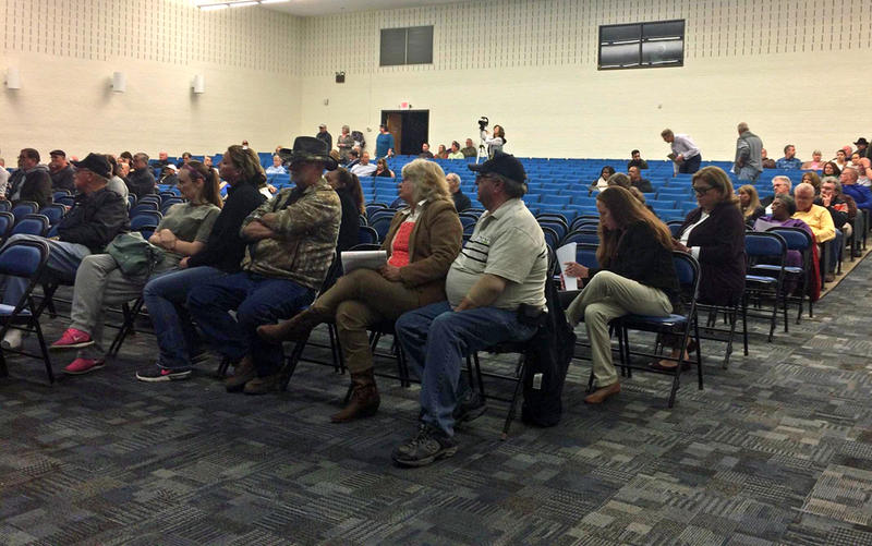 Concerned residents gather during a public forum at the Bladen Community College to discuss GenX on February 1, 2018.