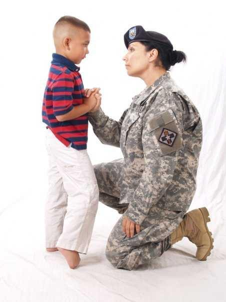 Master Sergeat Judy Betancourt in 2009 with her six year old son Christian.