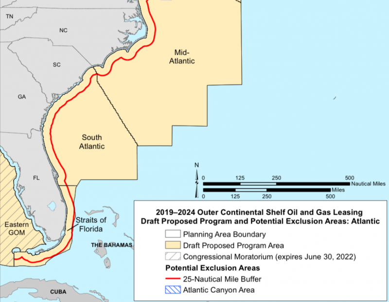 Map of the east coast showing the outer continental shelf where drilling would occur.
