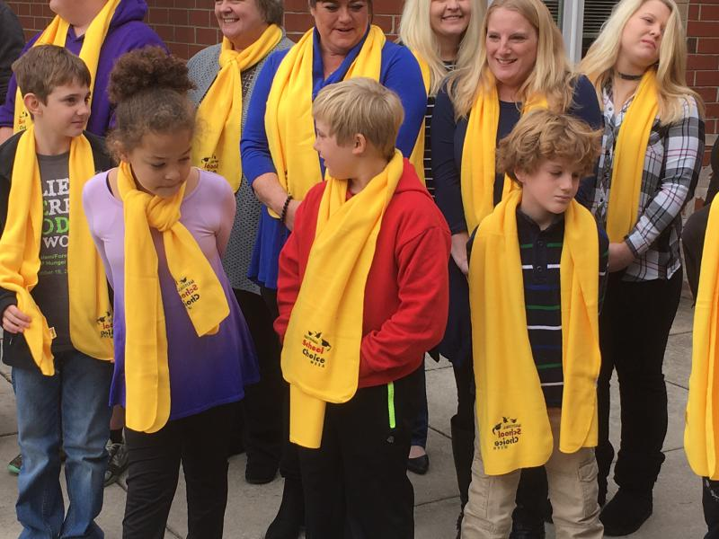 Students wearing yellow scarves for National School Choice Week